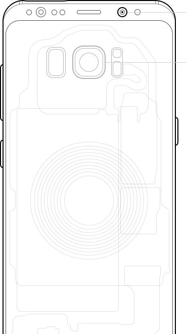 Illustrated image of Galaxy S8 showing inner components as well as the front and rear cameras